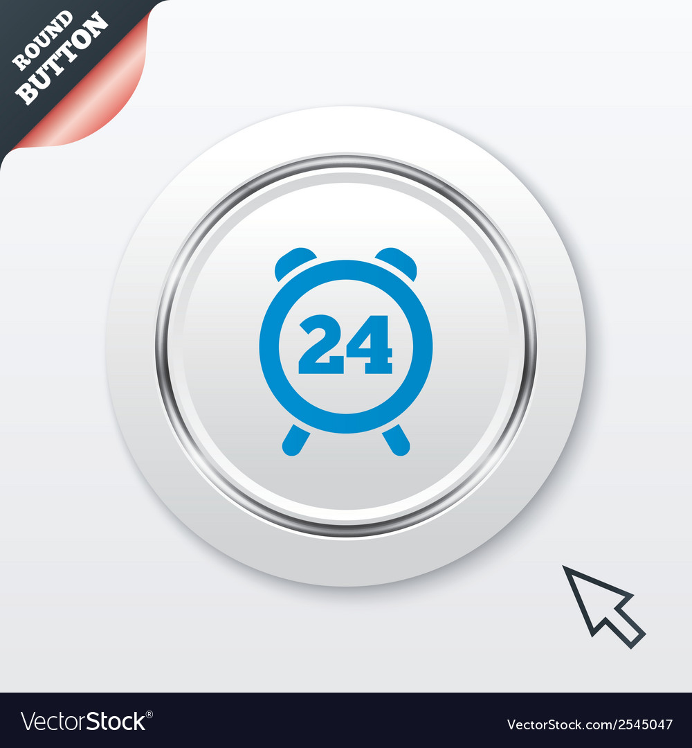 24 hours time sign icon clock alarm symbol vector | Price: 1 Credit (USD $1)