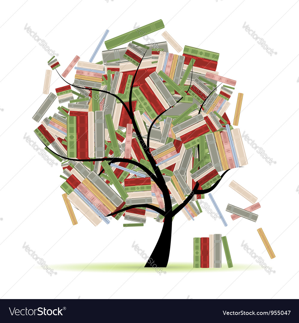 Books library on tree branches for your design vector | Price: 1 Credit (USD $1)
