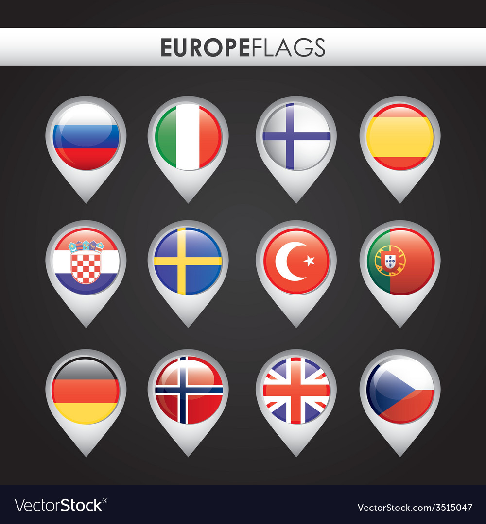 Europe flags design vector | Price: 1 Credit (USD $1)