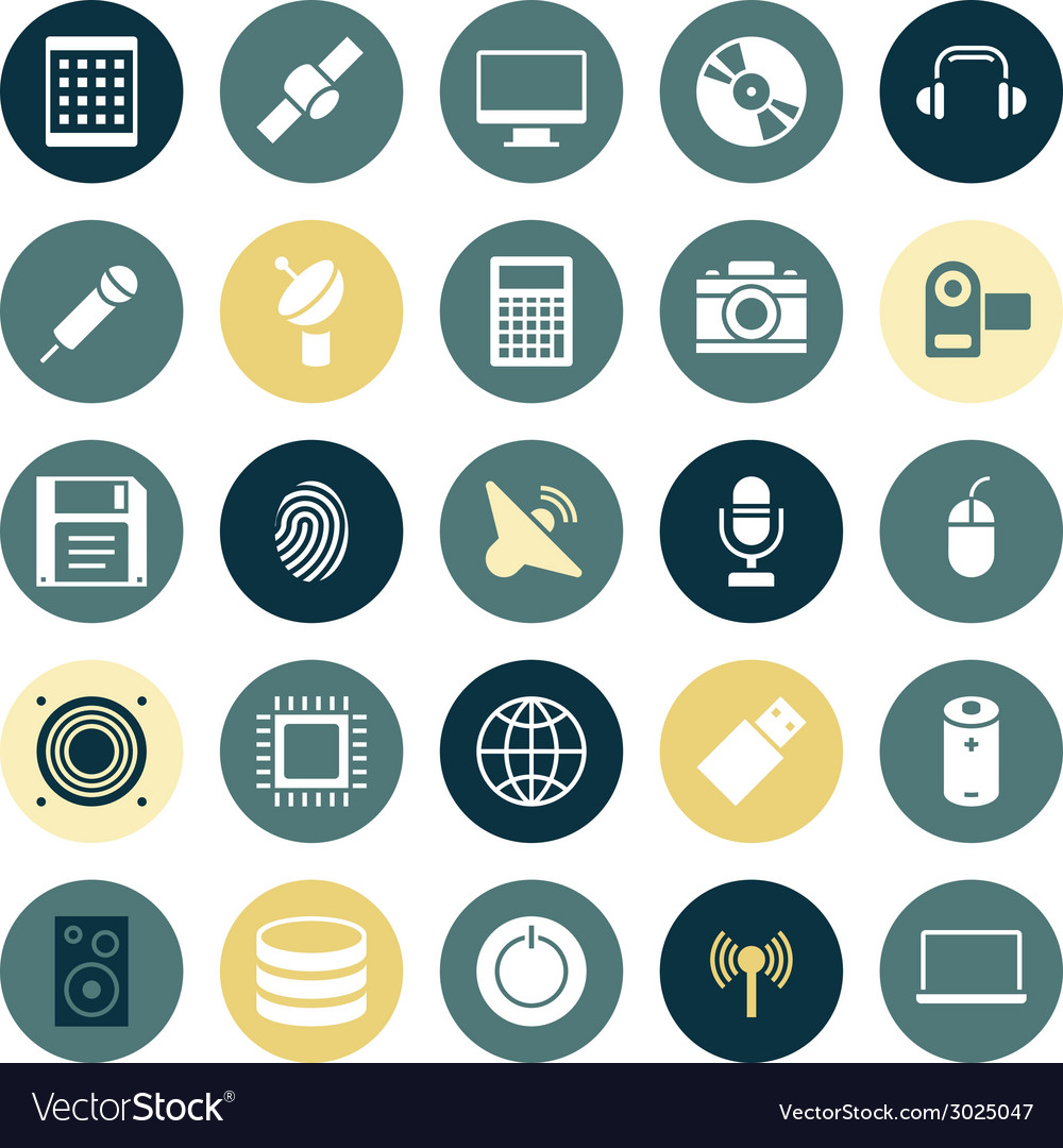 Flat design icons for technology and devices vector | Price: 1 Credit (USD $1)