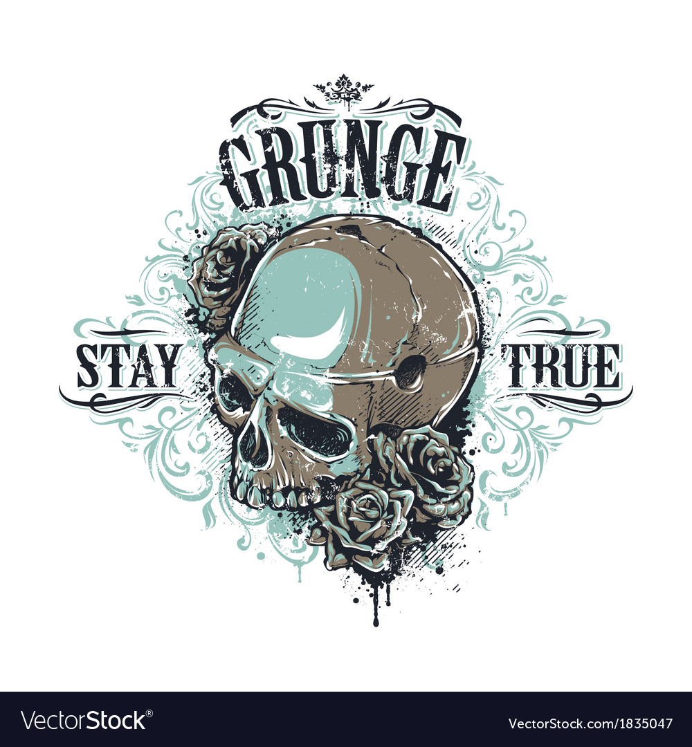 Grunge skull print 3 vector | Price: 3 Credit (USD $3)