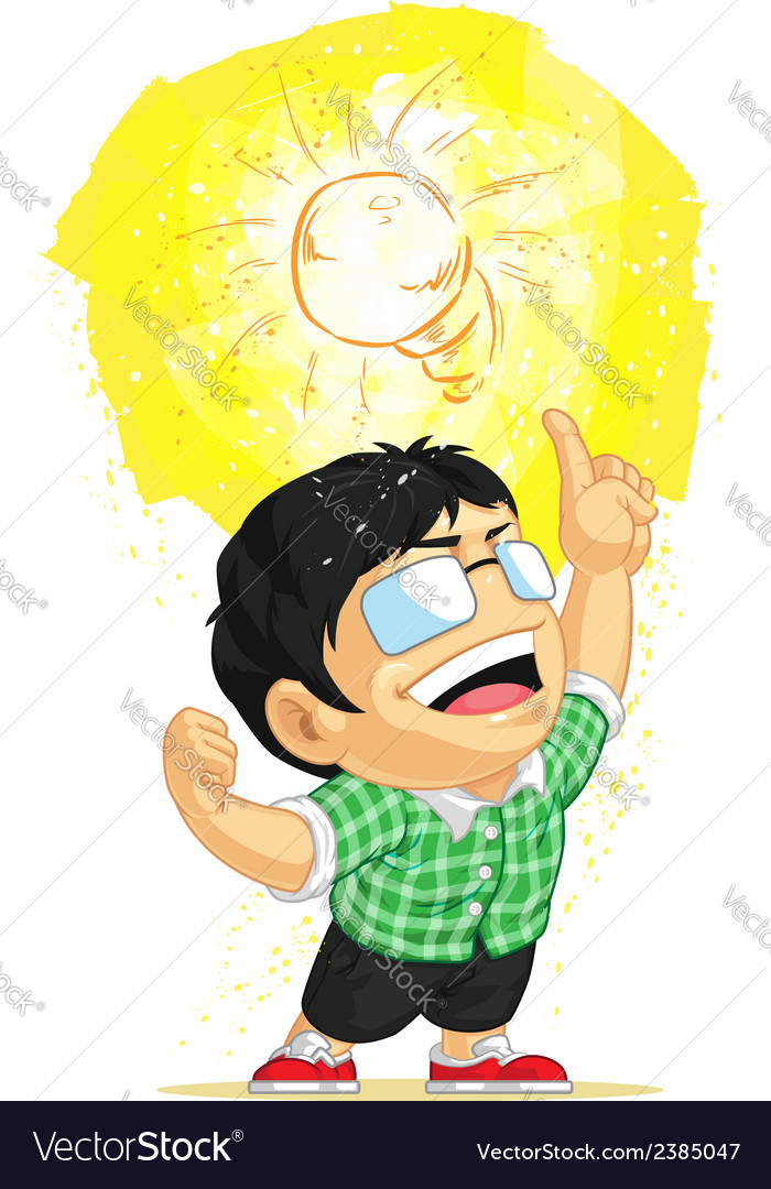 Kid having a shining light bulb idea vector | Price: 1 Credit (USD $1)