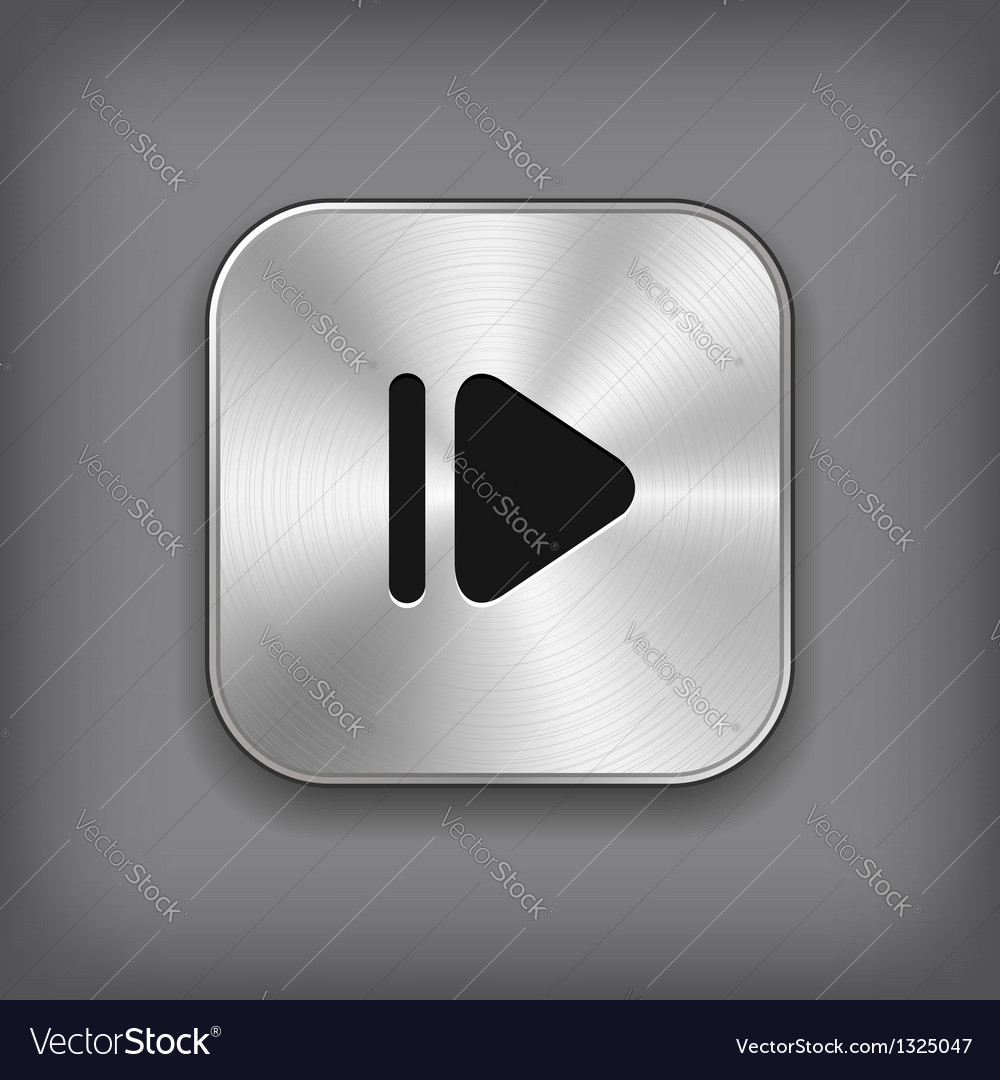 Media player icon - metal app button vector | Price: 1 Credit (USD $1)