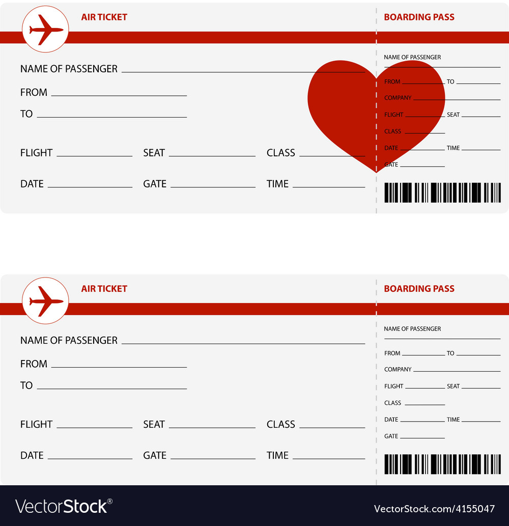 Plane tickets heart vector | Price: 1 Credit (USD $1)