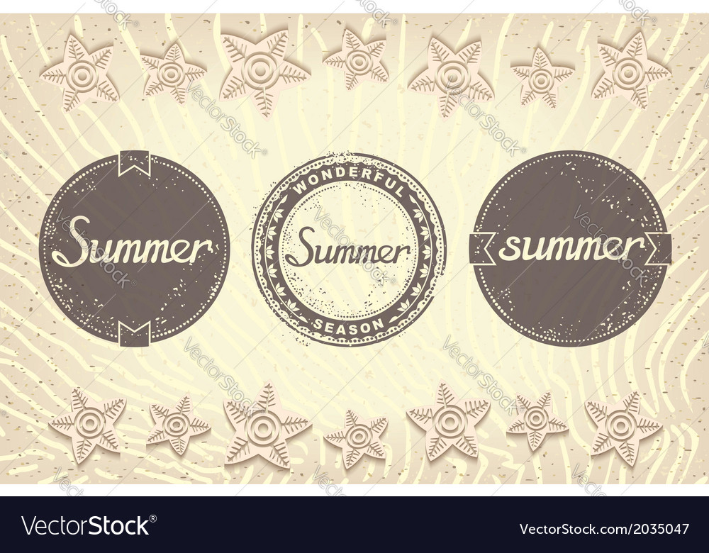 Three grunge labels designed for summer vector | Price: 1 Credit (USD $1)