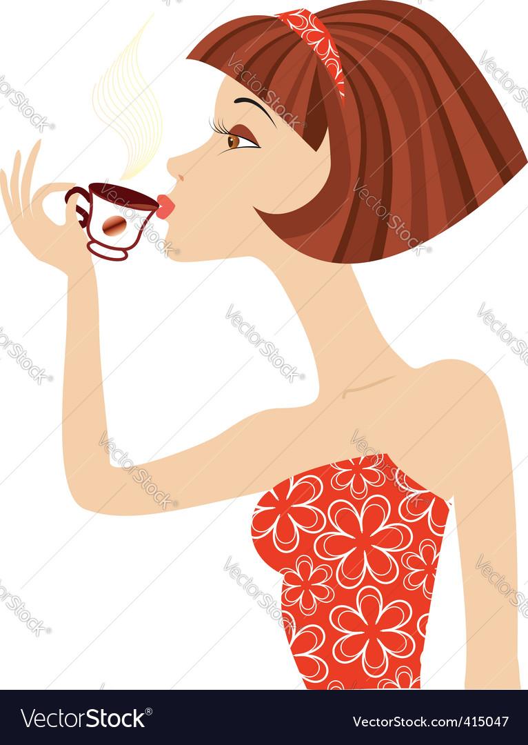 Woman coffee vector | Price: 3 Credit (USD $3)