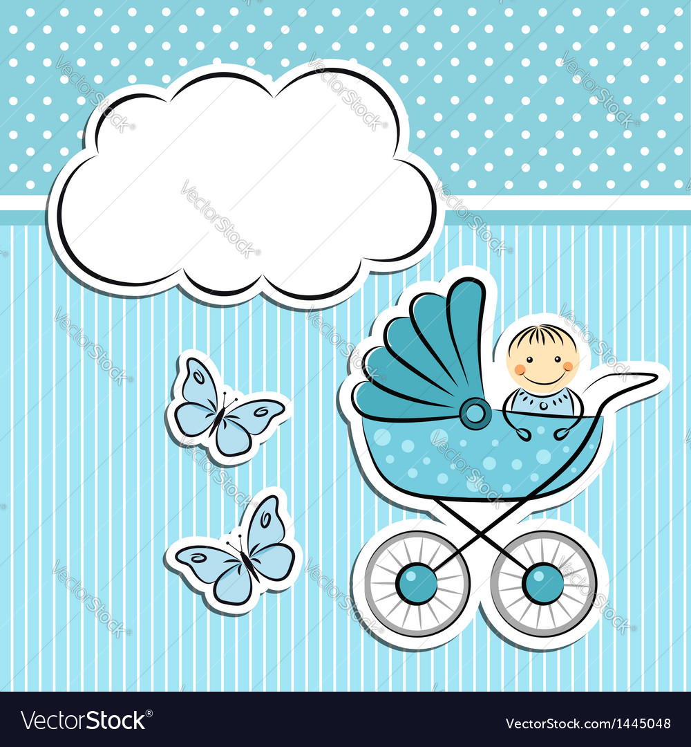 Baby boy arrival announcement vector | Price:  Credit (USD $)