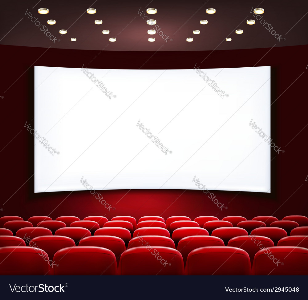 Cinema with white screen and seats vector | Price: 1 Credit (USD $1)