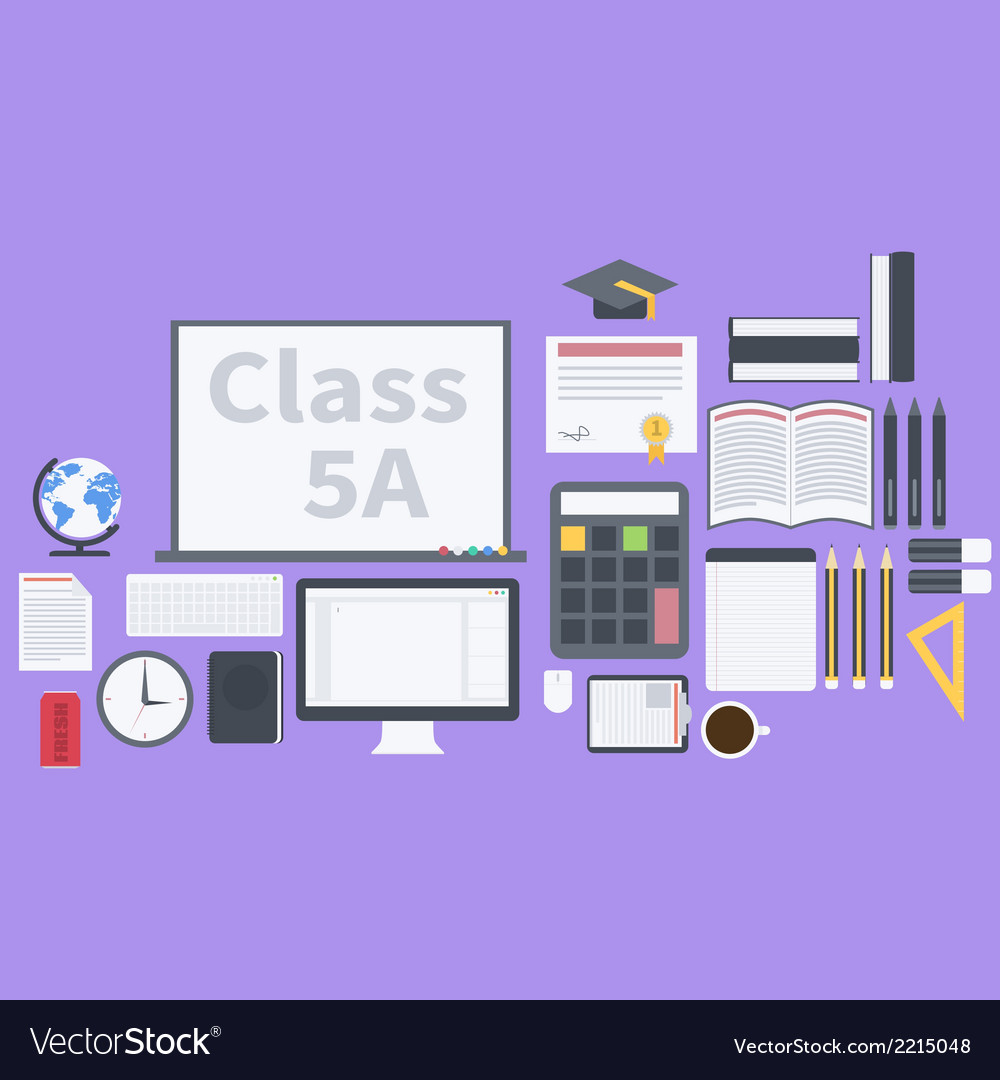 Flat school pack vector | Price: 1 Credit (USD $1)