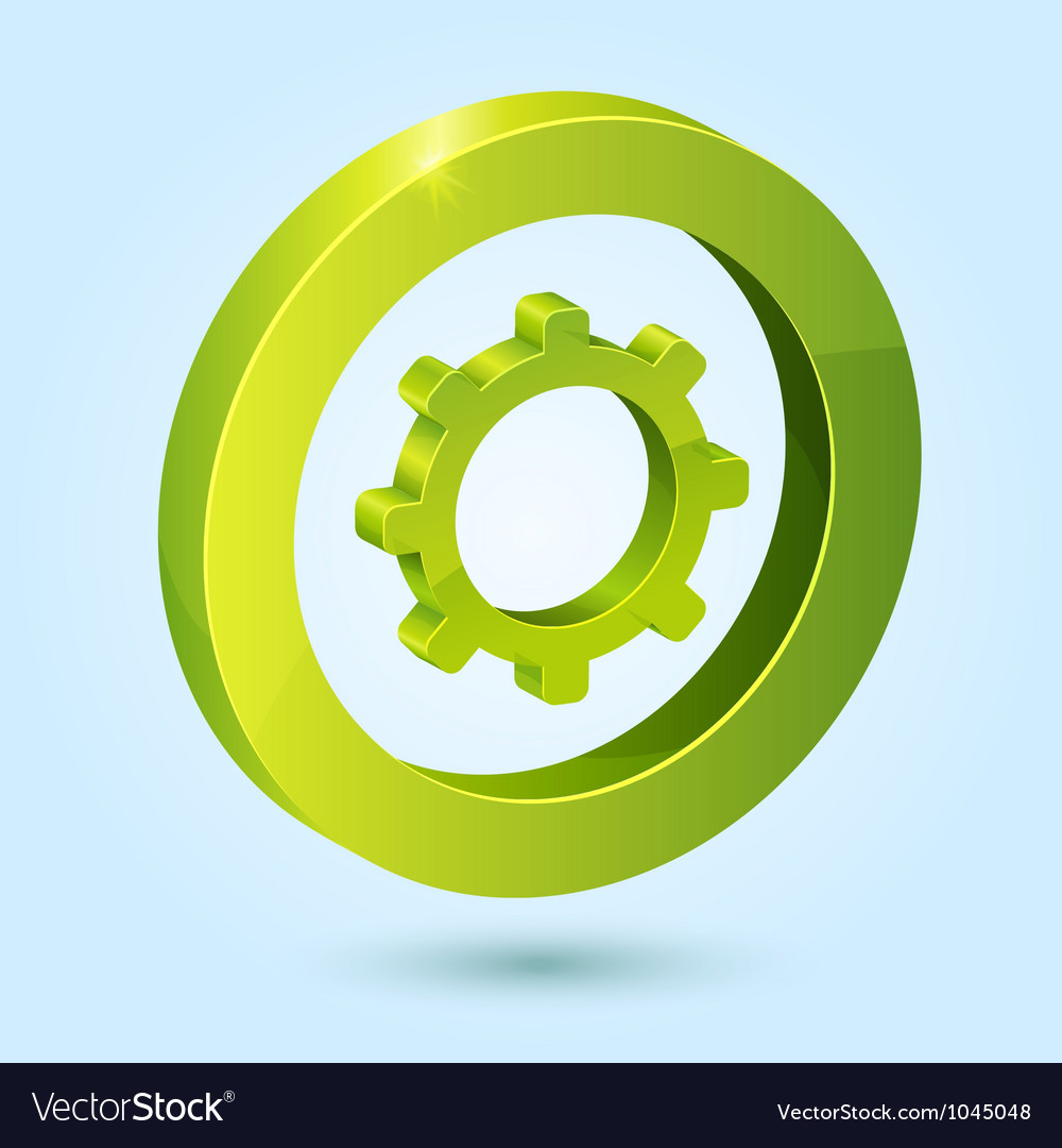 Green settings symbol isolated on blue background vector   Price: 1 Credit (USD $1)