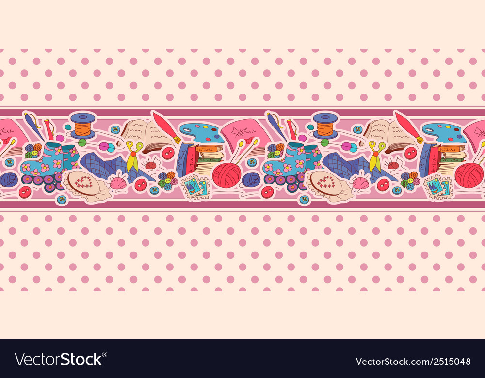 Horizontal seamless pattern with hobby items vector | Price: 1 Credit (USD $1)