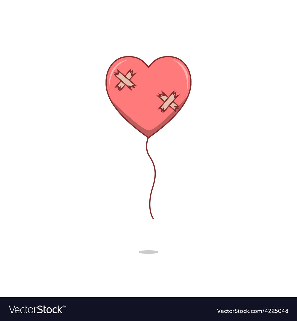 Isolated cartoon broken heart love balloon vector | Price: 1 Credit (USD $1)