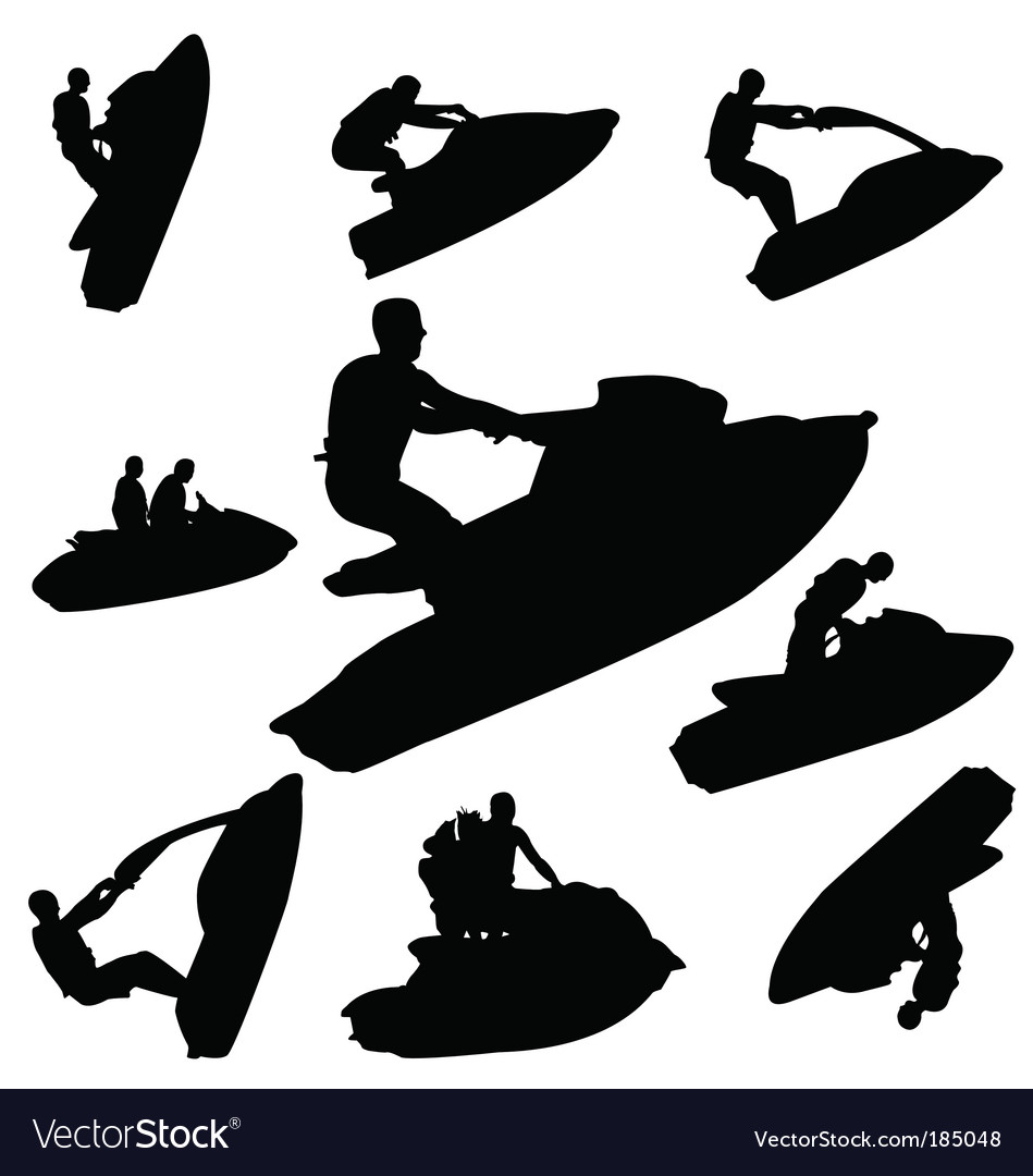 Jet ski silhouettes vector | Price: 1 Credit (USD $1)