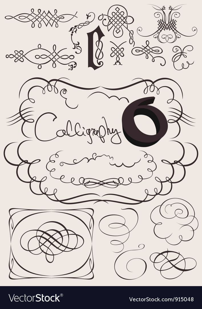 Set of calligraphy elements vector | Price: 1 Credit (USD $1)