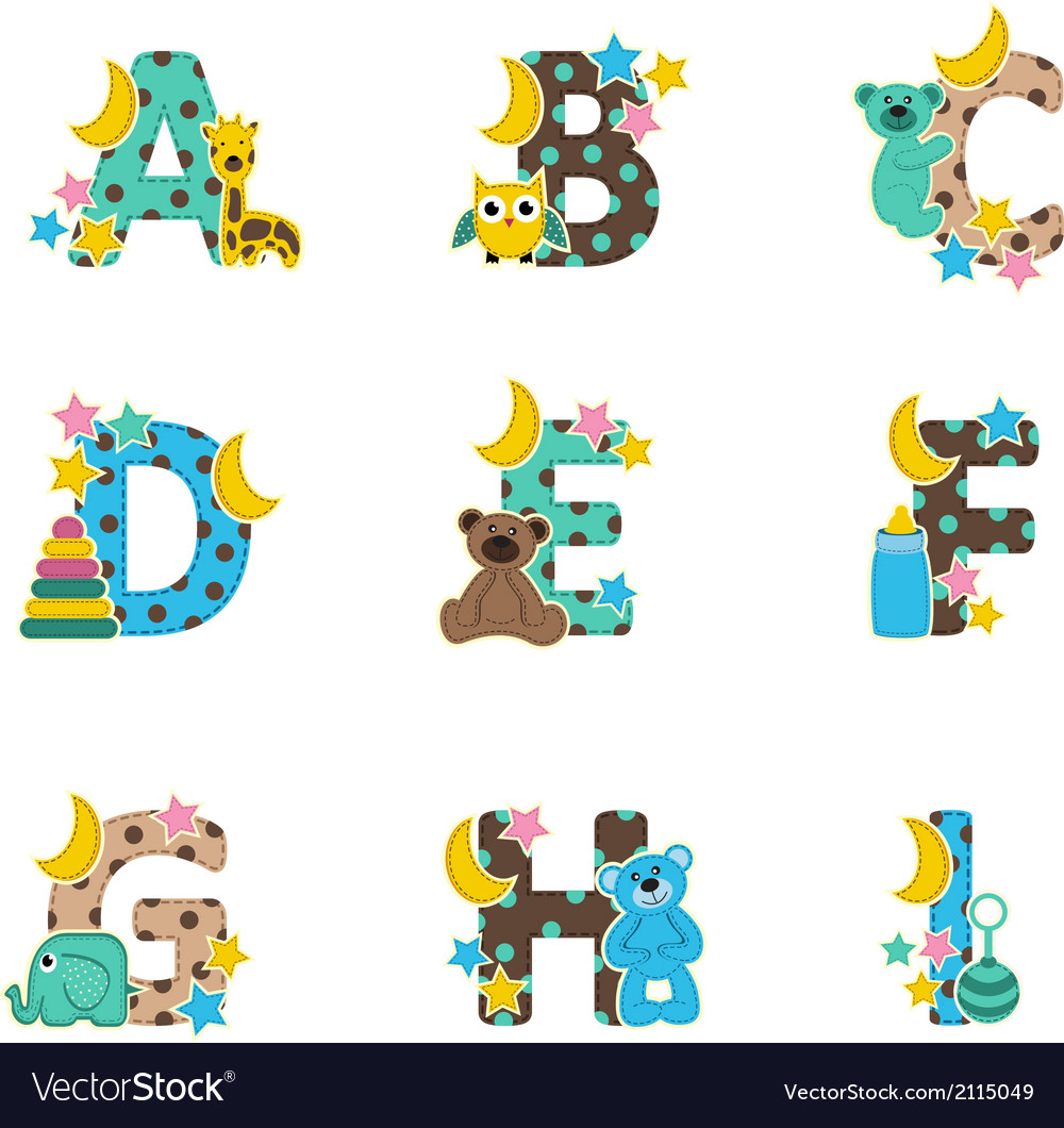 Alphabet baby from a to i vector | Price: 1 Credit (USD $1)