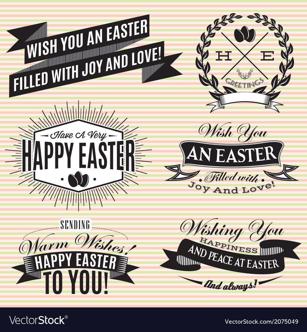 Black and white set of easter labels vector | Price: 1 Credit (USD $1)