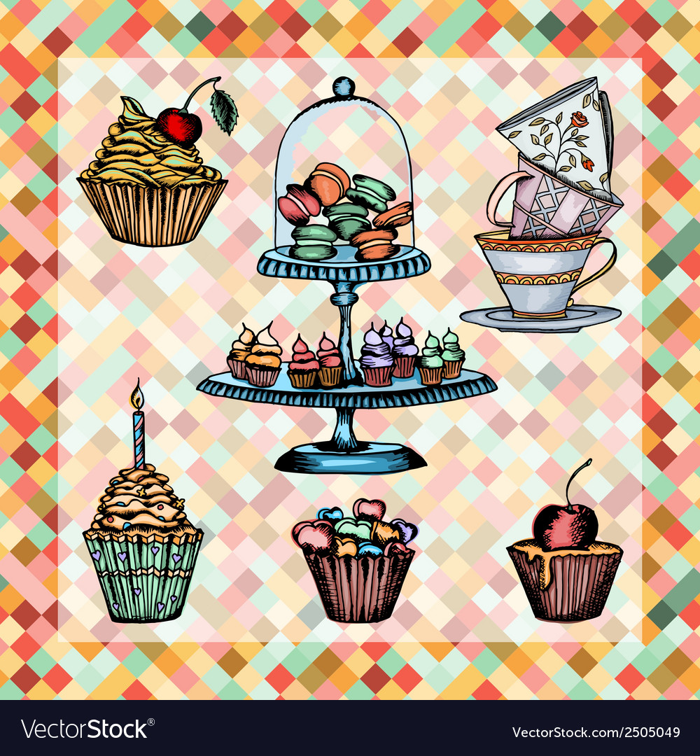 Cake set vector | Price: 1 Credit (USD $1)