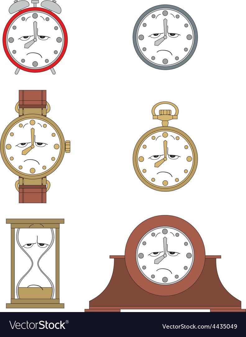 Cartoon unhappy clock face smiles 012 vector | Price: 1 Credit (USD $1)