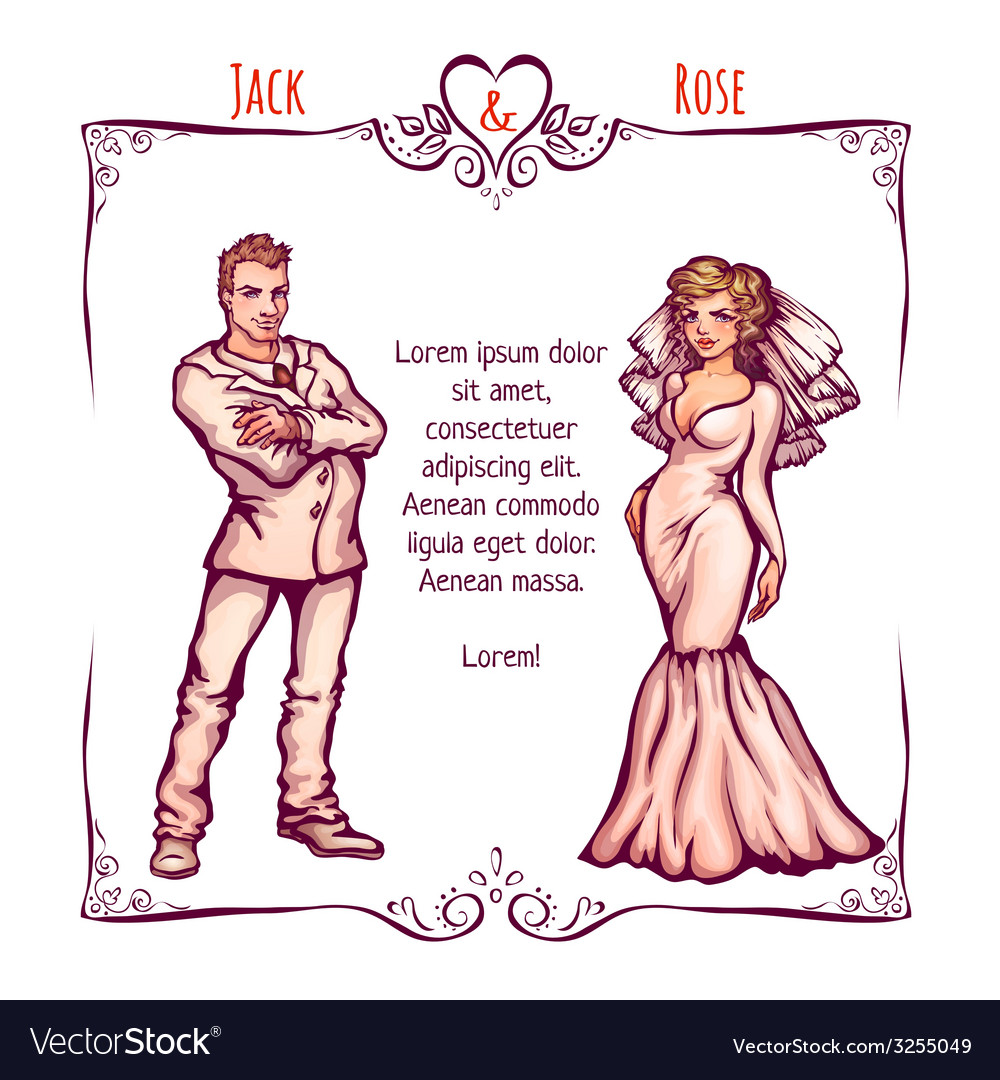 Elegant wedding invintantion with bride and groom vector | Price: 1 Credit (USD $1)