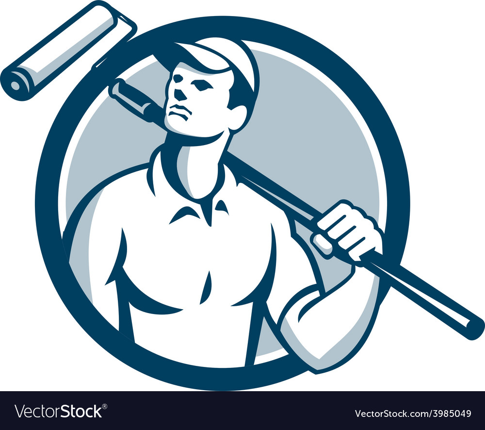 House painter holding paint roller circle retro vector | Price: 1 Credit (USD $1)