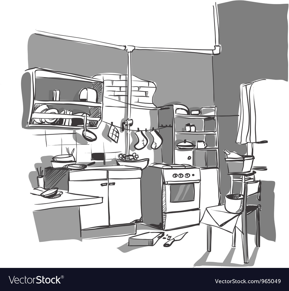 Kitchen sketch vector | Price: 1 Credit (USD $1)