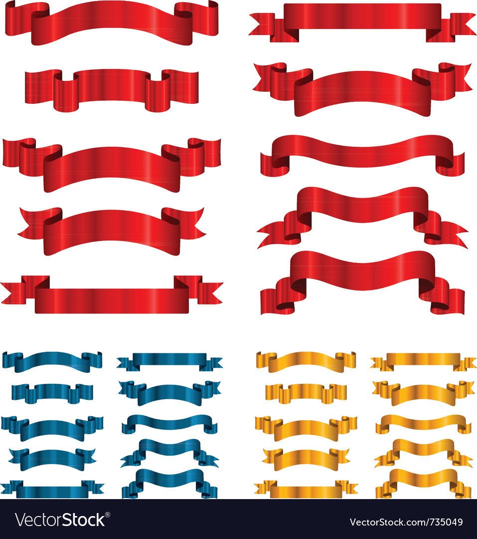 Set of ribbons banners isolated on white vector | Price: 1 Credit (USD $1)