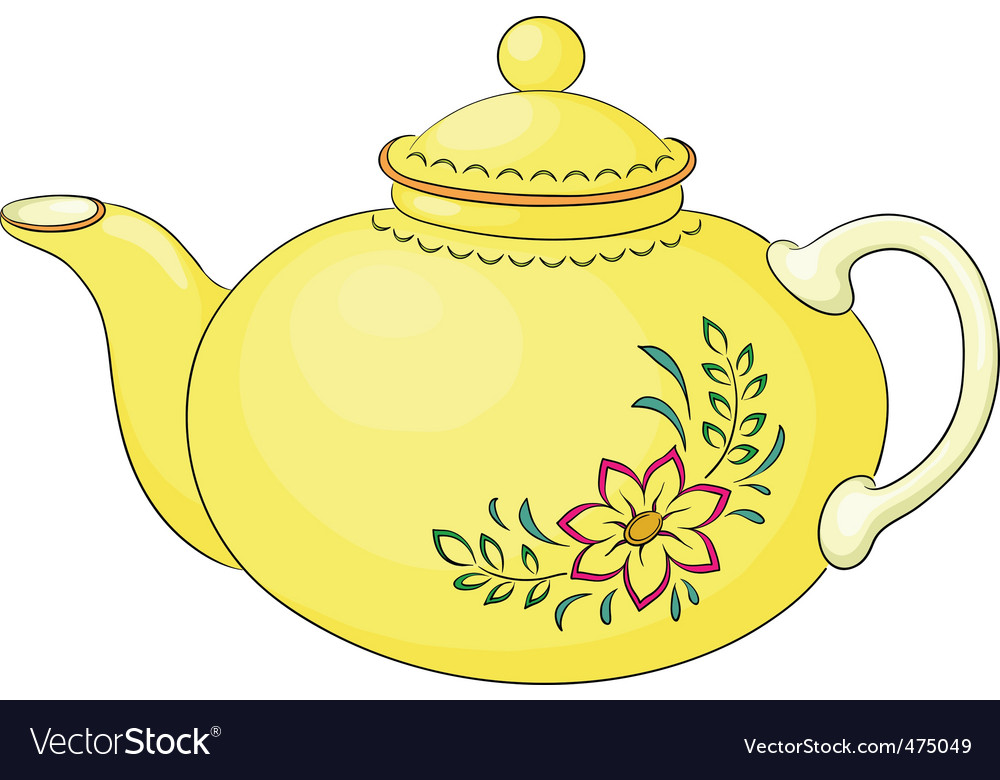 Teapot with flower pattern vector | Price: 1 Credit (USD $1)