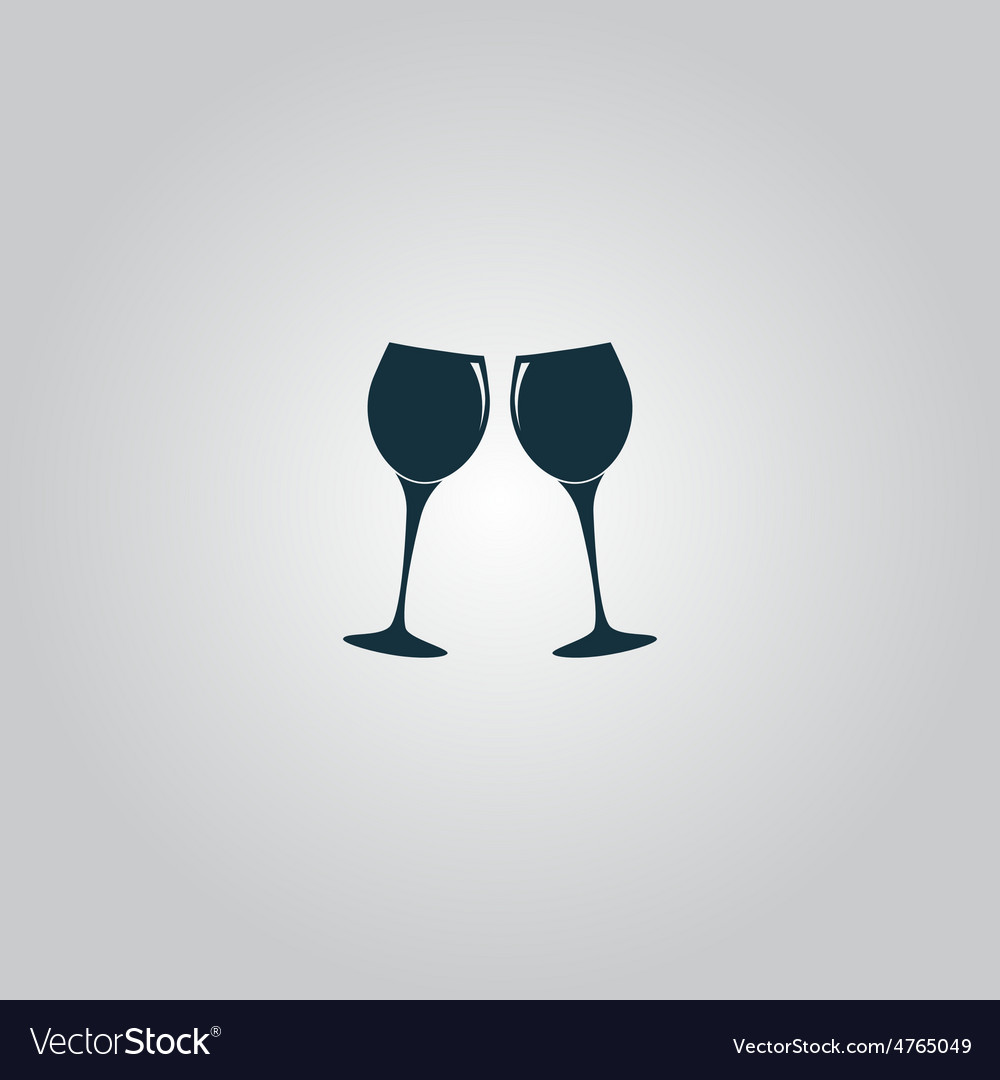 Two glasses of wine or champagne icon vector | Price: 1 Credit (USD $1)