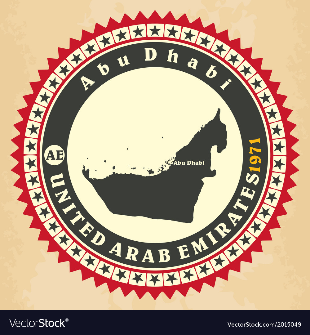 Vintage label-sticker cards of united arab emirate vector | Price: 1 Credit (USD $1)