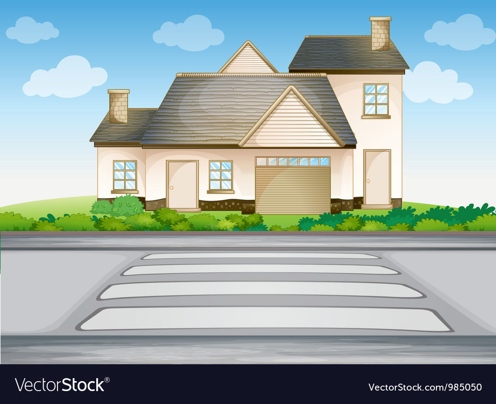 A house and zebra crossing vector | Price: 3 Credit (USD $3)