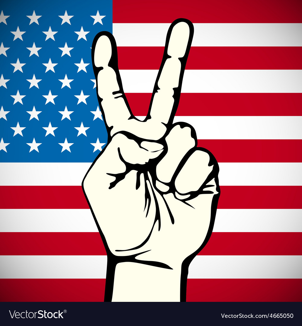 America victory finger t-shirt graphics vector | Price: 1 Credit (USD $1)