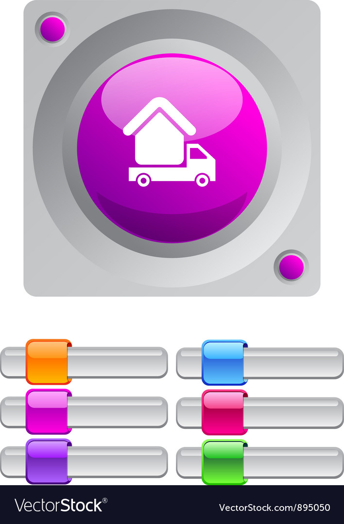 Camper color round button vector | Price: 1 Credit (USD $1)