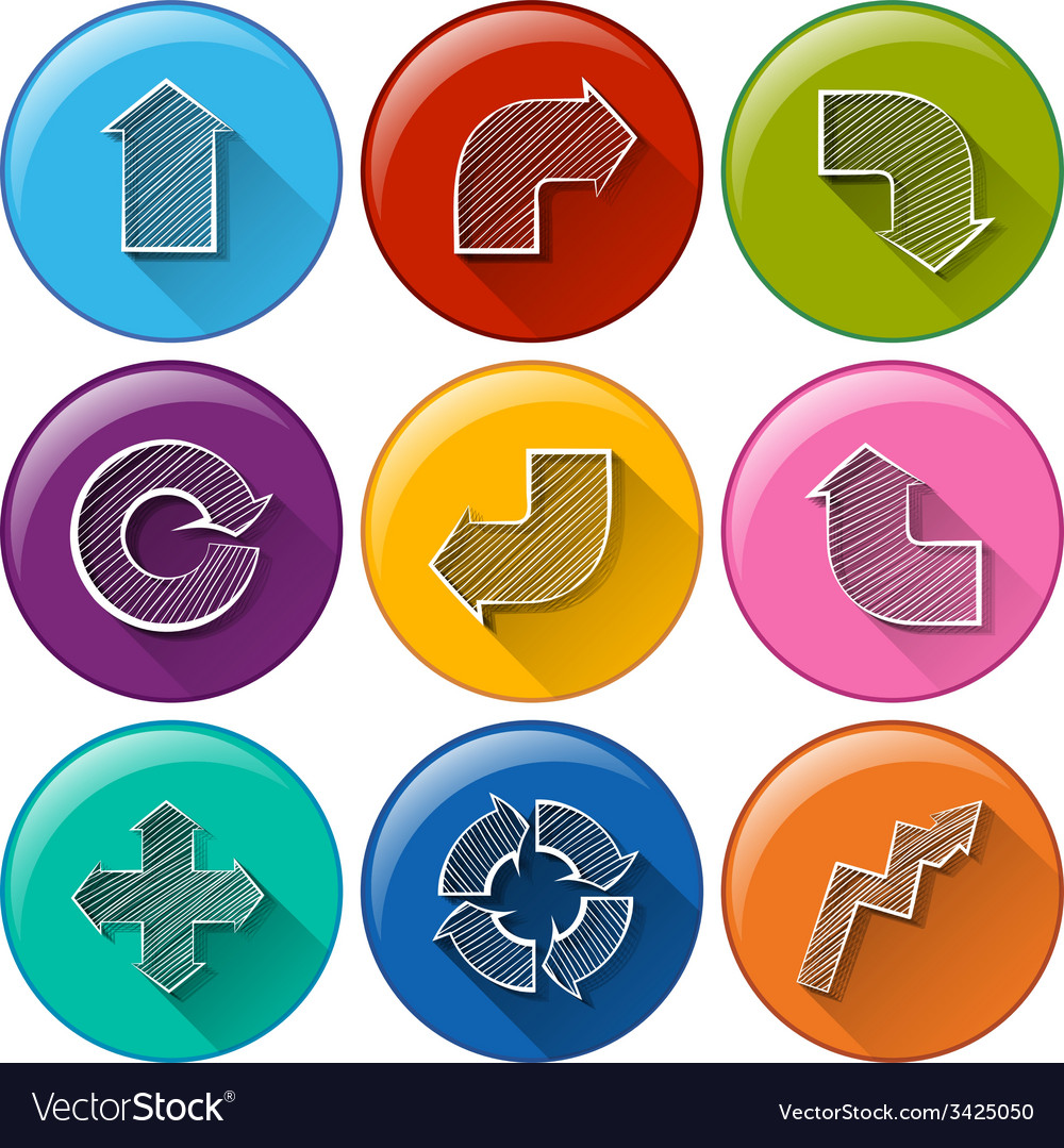 Circle buttons with different arrows vector | Price: 1 Credit (USD $1)