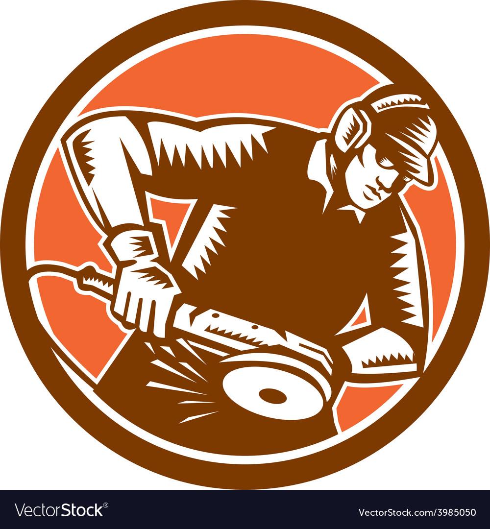 Metalworker operating grinder woodcut circle retro vector   Price: 1 Credit (USD $1)