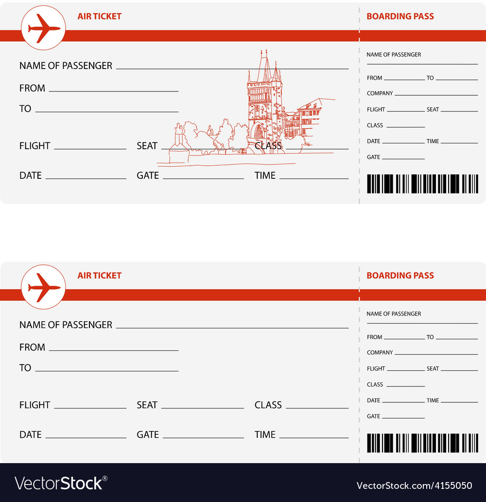 Plane tickets to prague vector | Price: 1 Credit (USD $1)