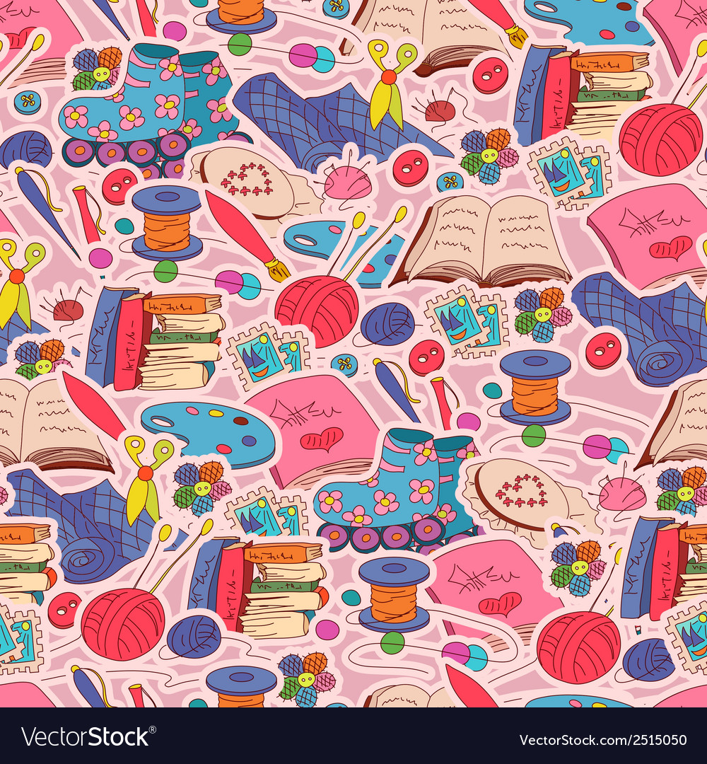 Seamless pattern with hobby elements vector | Price: 1 Credit (USD $1)