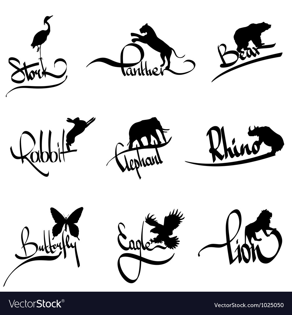 Set of animals silhouette with lettering vector | Price: 1 Credit (USD $1)