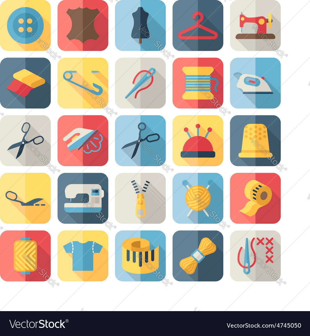 Sewing equipment and needlework flat icons vector | Price: 1 Credit (USD $1)