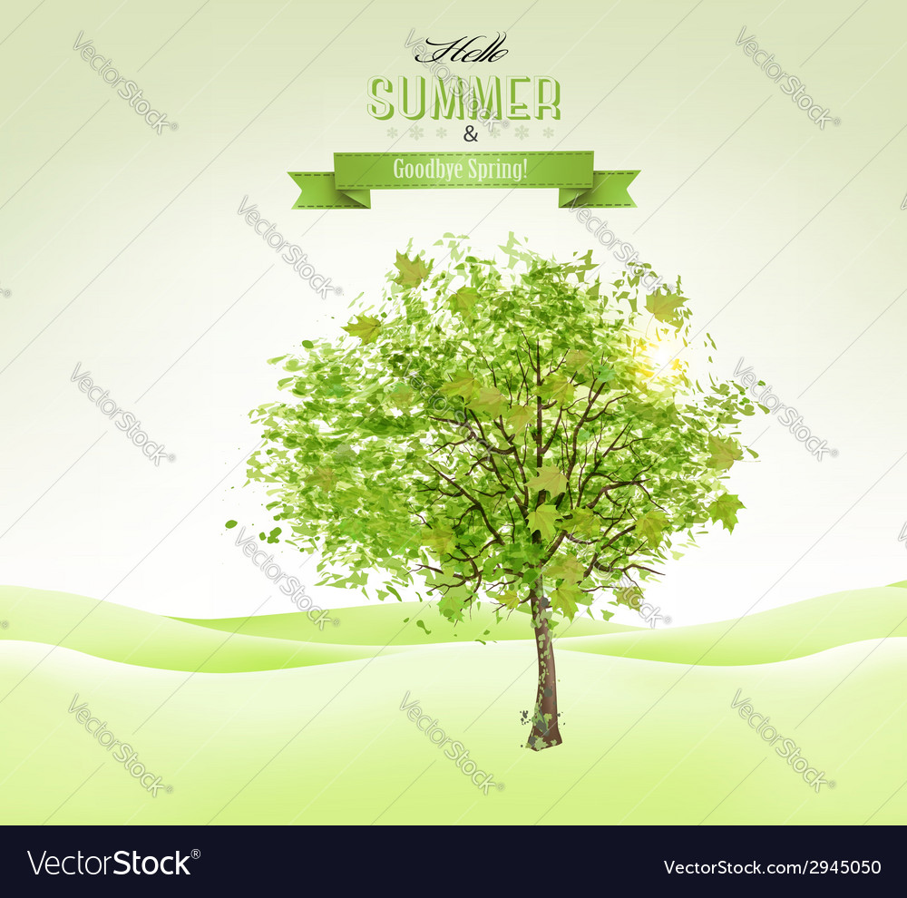 Summer background with a green tree vector | Price: 1 Credit (USD $1)