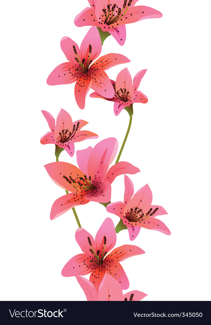Vertical seamless pattern with lilies vector | Price: 1 Credit (USD $1)