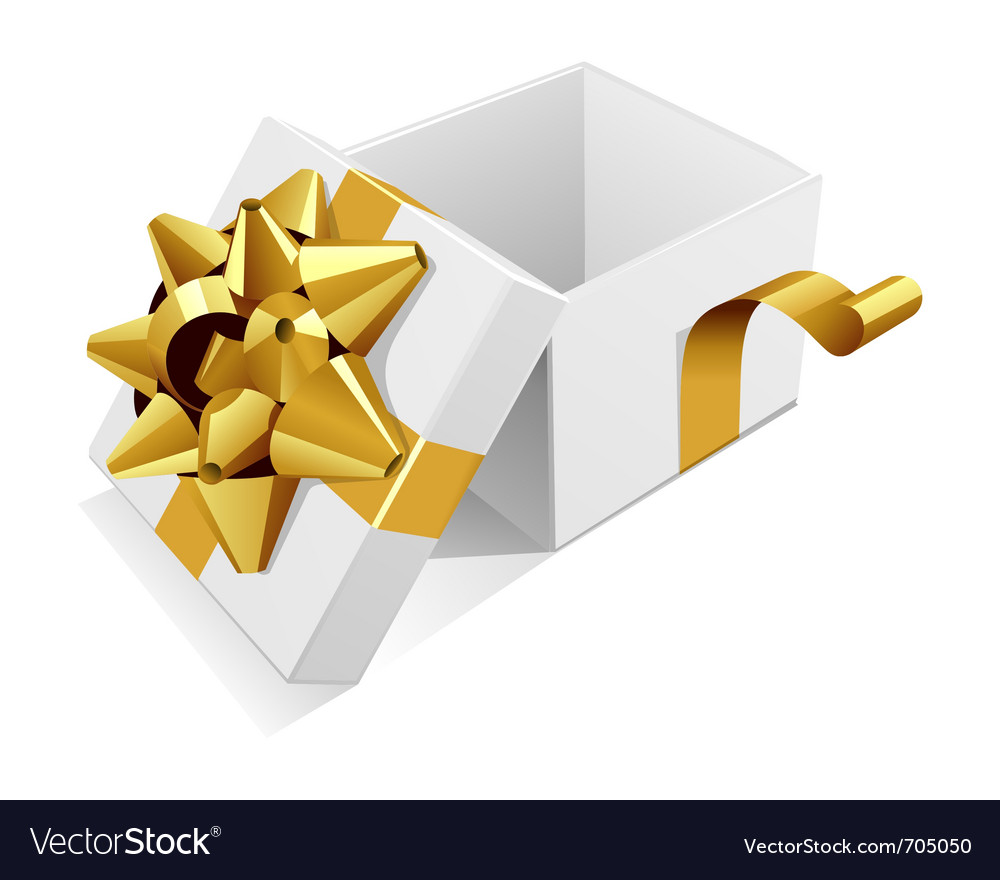 White open gift present box with gold bow vector | Price: 1 Credit (USD $1)