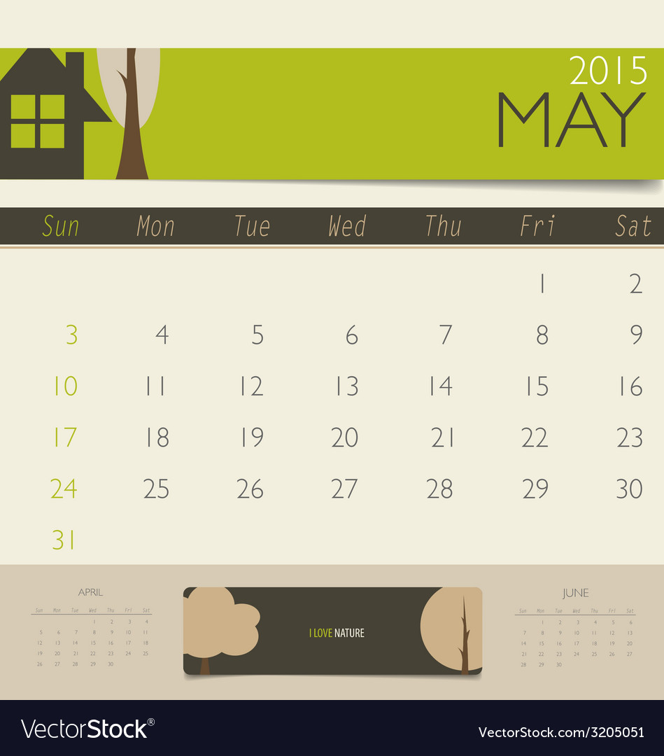 2015 calendar monthly calendar template for may vector | Price: 1 Credit (USD $1)