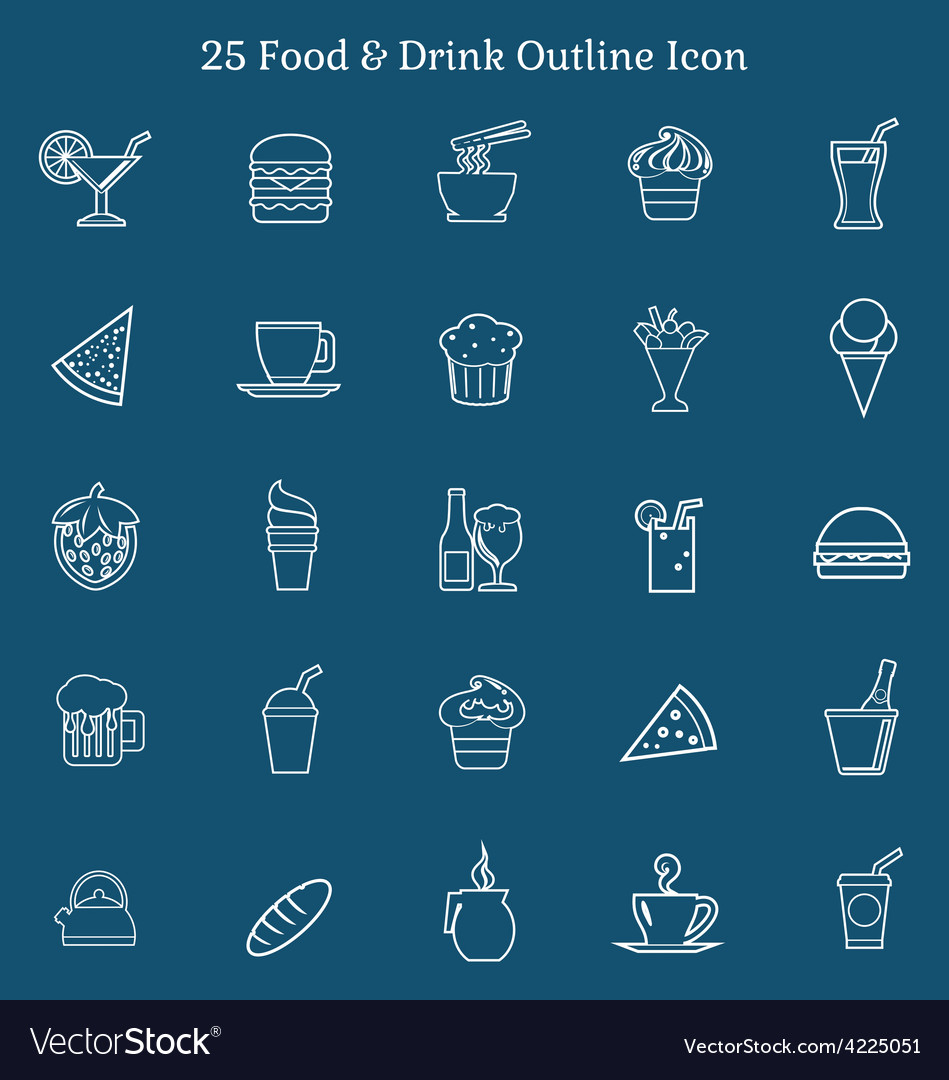25 food drink outline icon vector | Price: 1 Credit (USD $1)