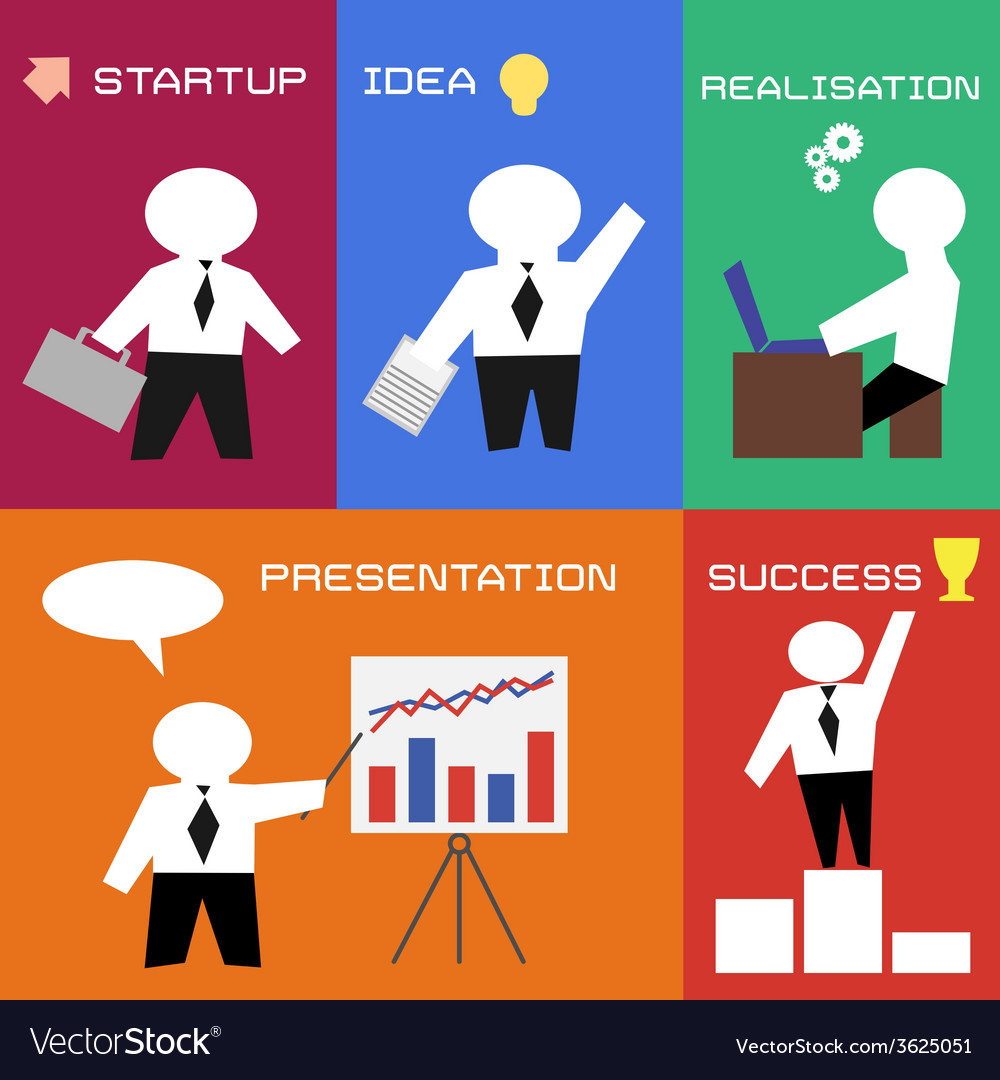 Business process in flat style vector | Price: 1 Credit (USD $1)