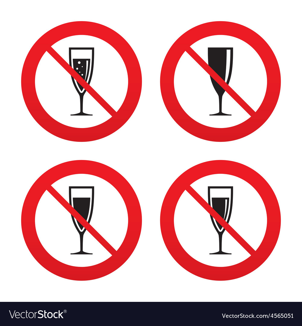 Champagne wine glasses signs alcohol drink vector | Price: 1 Credit (USD $1)
