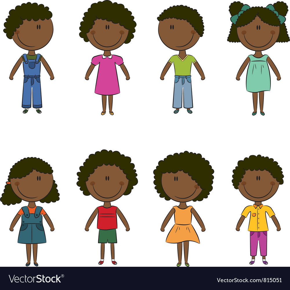 Cute happy african-american kids vector | Price: 3 Credit (USD $3)