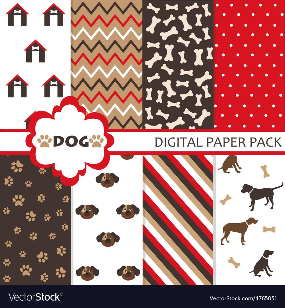 Dog scrapbooking paper set vector | Price: 1 Credit (USD $1)