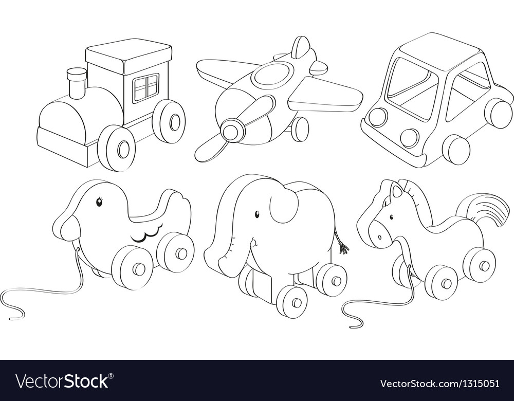Doodle designs of toys vector | Price: 1 Credit (USD $1)