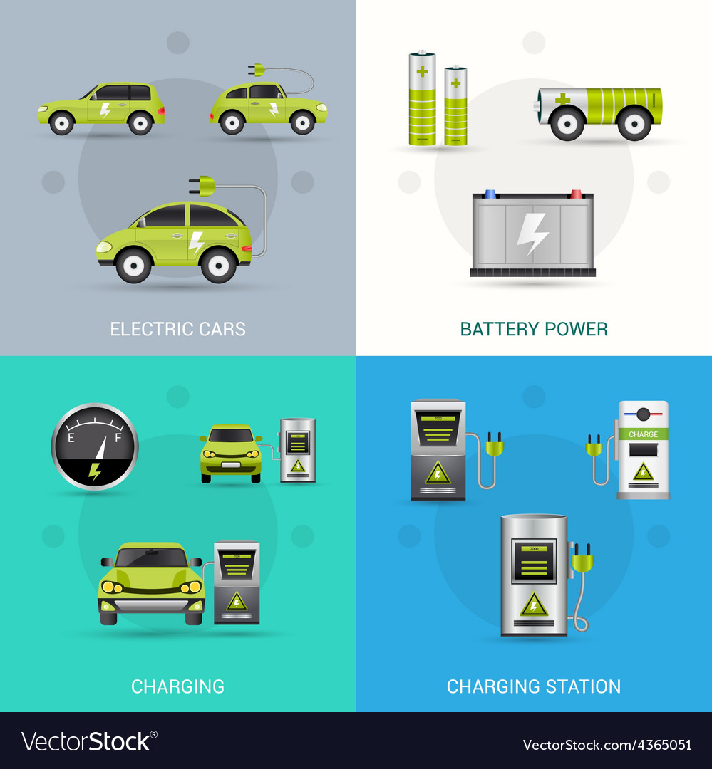 Electric car set vector | Price: 1 Credit (USD $1)