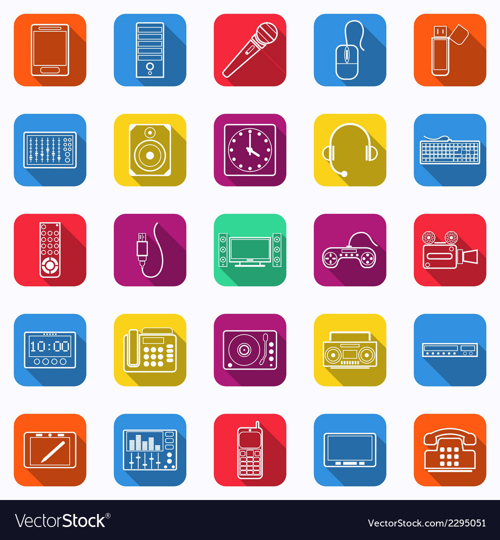 Electronic flat web icons vector | Price: 1 Credit (USD $1)